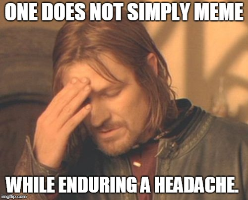 Frustrated Boromir Meme | ONE DOES NOT SIMPLY MEME WHILE ENDURING A HEADACHE. | image tagged in memes,frustrated boromir | made w/ Imgflip meme maker