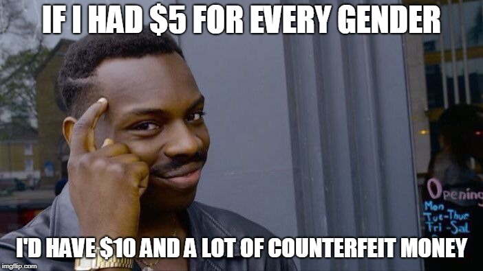 Roll Safe Think About It Meme | IF I HAD $5 FOR EVERY GENDER I'D HAVE $10 AND A LOT OF COUNTERFEIT MONEY | image tagged in memes,roll safe think about it | made w/ Imgflip meme maker