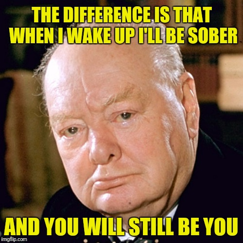 THE DIFFERENCE IS THAT WHEN I WAKE UP I'LL BE SOBER AND YOU WILL STILL BE YOU | made w/ Imgflip meme maker