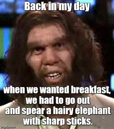 Back in my day when we wanted breakfast, we had to go out and spear a hairy elephant with sharp sticks. | made w/ Imgflip meme maker