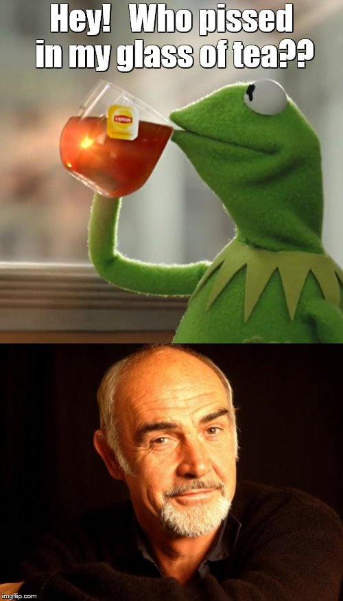 Kermit vs. Connery | Hey!   Who pissed in my glass of tea?? | image tagged in memes,but thats none of my business,kermit vs connery,sean connery vs kermit | made w/ Imgflip meme maker