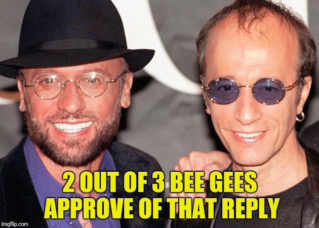 2 OUT OF 3 BEE GEES APPROVE OF THAT REPLY | made w/ Imgflip meme maker