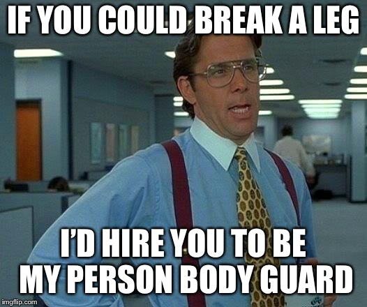 That Would Be Great Meme | IF YOU COULD BREAK A LEG I'D HIRE YOU TO BE MY PERSON BODY GUARD | image tagged in memes,that would be great | made w/ Imgflip meme maker