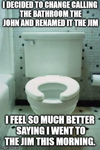 toilet | I DECIDED TO CHANGE CALLING THE BATHROOM THE JOHN AND RENAMED IT THE JIM I FEEL SO MUCH BETTER SAYING I WENT TO THE JIM THIS MORNING. | image tagged in toilet | made w/ Imgflip meme maker