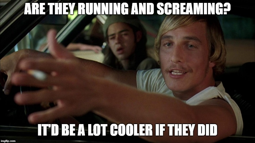 dazed | ARE THEY RUNNING AND SCREAMING? IT'D BE A LOT COOLER IF THEY DID | image tagged in dazed | made w/ Imgflip meme maker