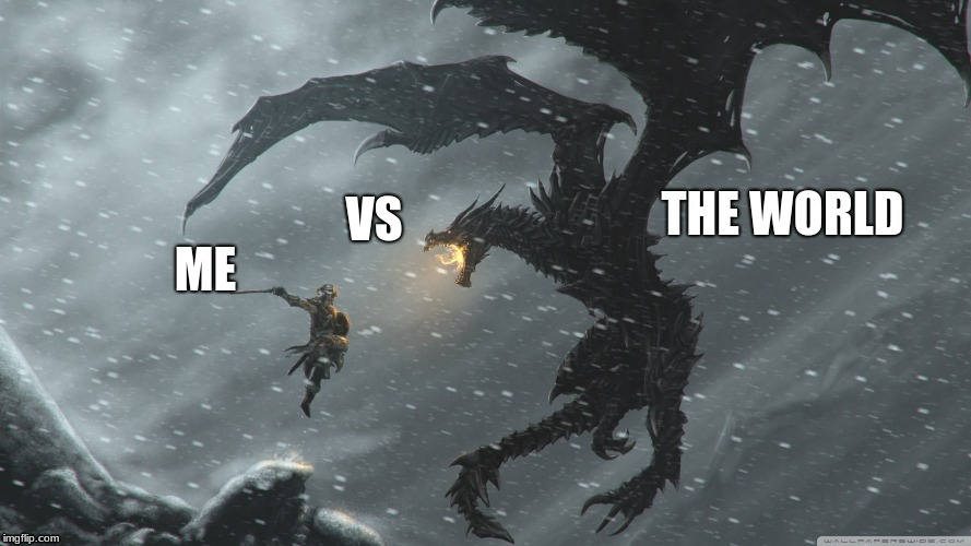 Who else feels like this | ME THE WORLD VS | image tagged in skyrim dragon fight | made w/ Imgflip meme maker