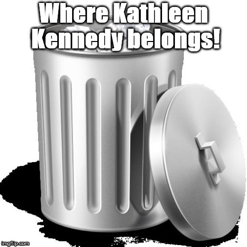 Trash can full |  Where Kathleen Kennedy belongs! | image tagged in trash can full,kathleen kennedy | made w/ Imgflip meme maker