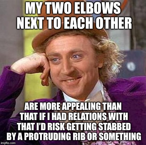 Creepy Condescending Wonka Meme | MY TWO ELBOWS NEXT TO EACH OTHER ARE MORE APPEALING THAN THAT IF I HAD RELATIONS WITH THAT I'D RISK GETTING STABBED BY A PROTRUDING RIB OR S | image tagged in memes,creepy condescending wonka | made w/ Imgflip meme maker