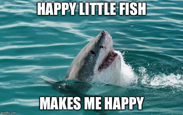 Friendly Shark | HAPPY LITTLE FISH MAKES ME HAPPY | image tagged in friendly shark | made w/ Imgflip meme maker