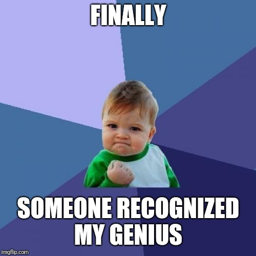 Success Kid Meme | FINALLY SOMEONE RECOGNIZED MY GENIUS | image tagged in memes,success kid | made w/ Imgflip meme maker