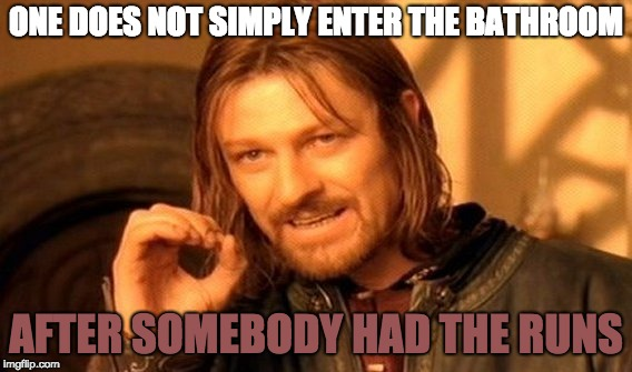 One Does Not Simply Meme | ONE DOES NOT SIMPLY ENTER THE BATHROOM AFTER SOMEBODY HAD THE RUNS | image tagged in memes,one does not simply | made w/ Imgflip meme maker