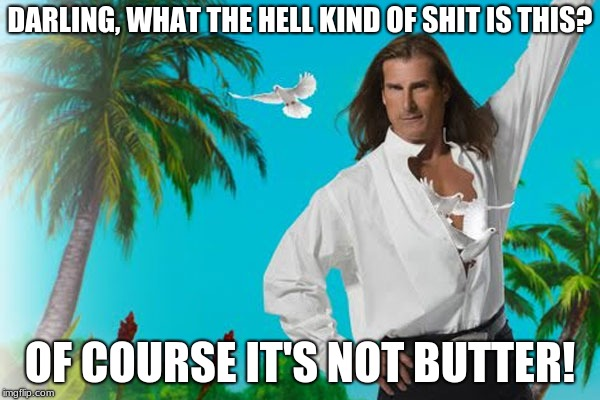 Me As A Model | DARLING, WHAT THE HELL KIND OF SHIT IS THIS? OF COURSE IT'S NOT BUTTER! | image tagged in memes,funny,fabio,butter,model,commercials | made w/ Imgflip meme maker