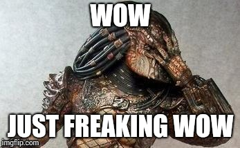 Predator facepalm | WOW JUST FREAKING WOW | image tagged in predator,memes,facepalm | made w/ Imgflip meme maker