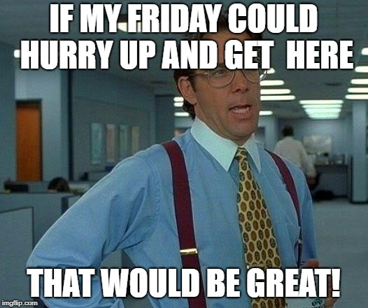 That Would Be Great Meme | IF MY FRIDAY COULD HURRY UP AND GET  HERE THAT WOULD BE GREAT! | image tagged in memes,that would be great | made w/ Imgflip meme maker