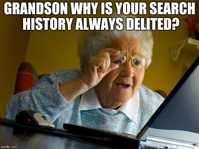 Grandma Finds The Internet Meme | GRANDSON WHY IS YOUR SEARCH HISTORY ALWAYS DELITED? | image tagged in memes,grandma finds the internet | made w/ Imgflip meme maker