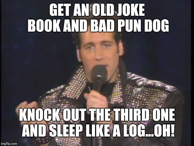 GET AN OLD JOKE BOOK AND BAD PUN DOG KNOCK OUT THE THIRD ONE AND SLEEP LIKE A LOG...OH! | made w/ Imgflip meme maker