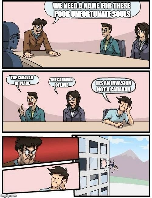 Boardroom Meeting Suggestion Meme |  WE NEED A NAME FOR THESE POOR UNFORTUNATE SOULS; THE CARAVAN OF PEACE; THE CARAVAN OF LOVE; ITS AN INVASION NOT A CARAVAN | image tagged in memes,boardroom meeting suggestion | made w/ Imgflip meme maker