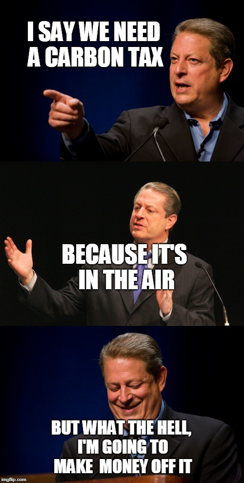 Bad Pun Al Gore | I SAY WE NEED A CARBON TAX BUT WHAT THE HELL, I'M GOING TO MAKE  MONEY OFF IT BECAUSE IT'S IN THE AIR | image tagged in bad pun al gore | made w/ Imgflip meme maker