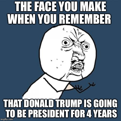 Y U No Meme | THE FACE YOU MAKE WHEN YOU REMEMBER THAT DONALD TRUMP IS GOING TO BE PRESIDENT FOR 4 YEARS | image tagged in memes,y u no | made w/ Imgflip meme maker