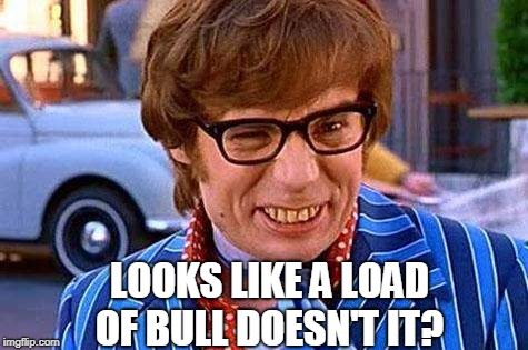 Austin Powers | LOOKS LIKE A LOAD OF BULL DOESN'T IT? | image tagged in austin powers | made w/ Imgflip meme maker