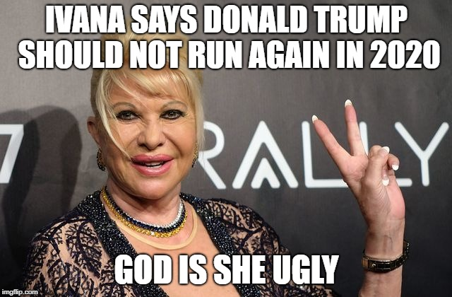 Ivana Trump | IVANA SAYS DONALD TRUMP SHOULD NOT RUN AGAIN IN 2020 GOD IS SHE UGLY | image tagged in ugly,nasty,maggot,yuck | made w/ Imgflip meme maker