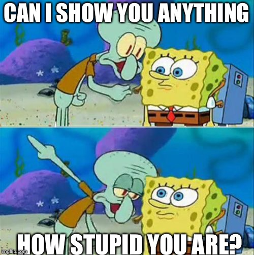 Talk To Spongebob Meme | CAN I SHOW YOU ANYTHING HOW STUPID YOU ARE? | image tagged in memes,talk to spongebob | made w/ Imgflip meme maker