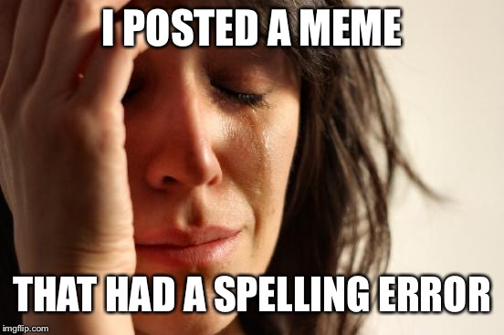 First World Problems Meme | I POSTED A MEME THAT HAD A SPELLING ERROR | image tagged in memes,first world problems | made w/ Imgflip meme maker