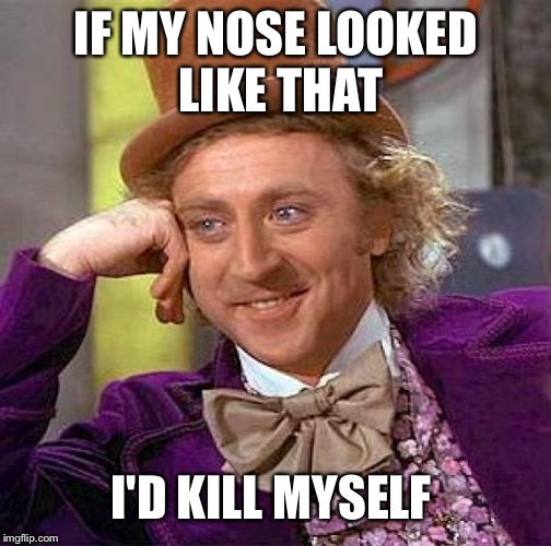 Creepy Condescending Wonka Meme | IF MY NOSE LOOKED LIKE THAT I'D KILL MYSELF | image tagged in memes,creepy condescending wonka | made w/ Imgflip meme maker