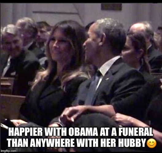 Obama charms Melania | HAPPIER WITH OBAMA AT A FUNERAL THAN ANYWHERE WITH HER HUBBY | image tagged in melania trump,president obama,barbara bush,funeral,donald trump | made w/ Imgflip meme maker