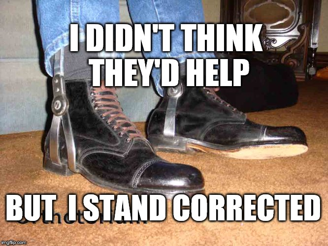 I DIDN'T THINK THEY'D HELP BUT  I STAND CORRECTED | image tagged in shoes | made w/ Imgflip meme maker