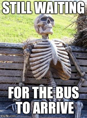 Waiting Skeleton Meme | STILL WAITING FOR THE BUS TO ARRIVE | image tagged in memes,waiting skeleton | made w/ Imgflip meme maker