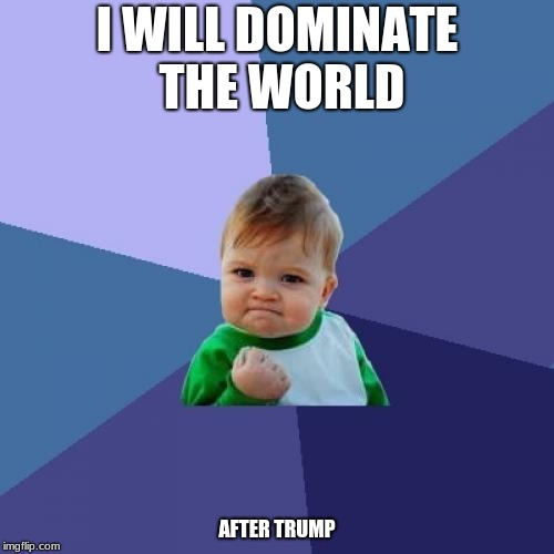 Success Kid Meme | I WILL DOMINATE THE WORLD AFTER TRUMP | image tagged in memes,success kid | made w/ Imgflip meme maker