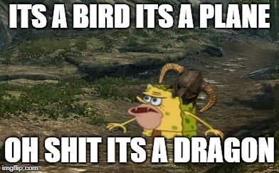 Spongegar Skyrim | ITS A BIRD ITS A PLANE OH SHIT ITS A DRAGON | image tagged in spongegar skyrim | made w/ Imgflip meme maker