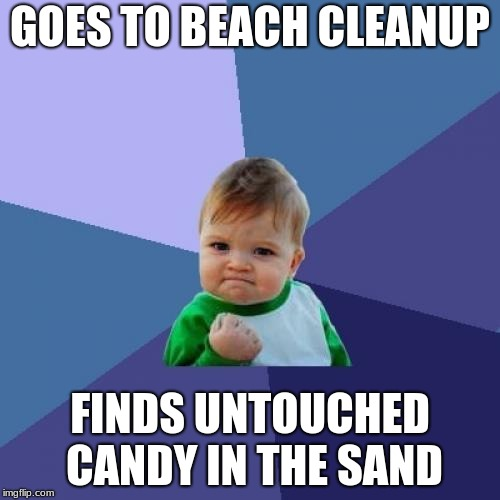 Who else did this on Earth day?  | GOES TO BEACH CLEANUP FINDS UNTOUCHED CANDY IN THE SAND | image tagged in memes,success kid,beach,happy earth day,earth day,funny | made w/ Imgflip meme maker