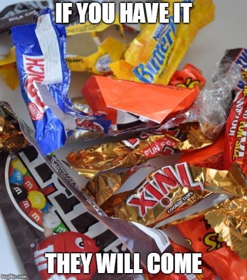 Candy Stash | IF YOU HAVE IT THEY WILL COME | image tagged in candy stash | made w/ Imgflip meme maker