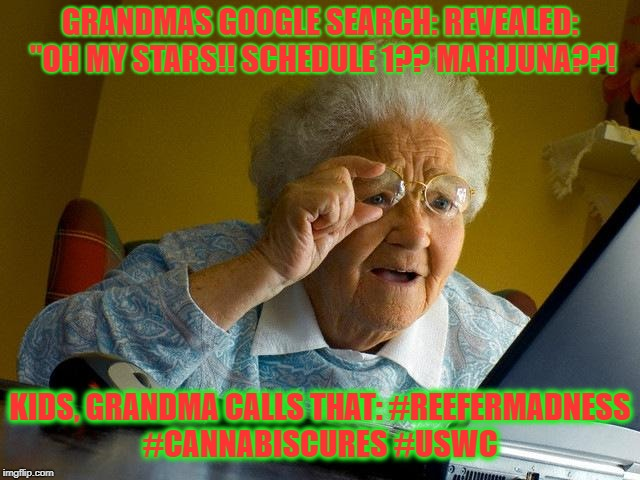 "Grandma Finds The Internet Meme | GRANDMAS GOOGLE SEARCH: REVEALED: ""OH MY STARS!! SCHEDULE 1?? MARIJUNA??! KIDS, GRANDMA CALLS THAT: #REEFERMADNESS #CANNABISCURES #USWC 