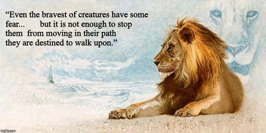 """Even the bravest of creatures have some fear...       but it is not enough to stop them  from moving in their path                         