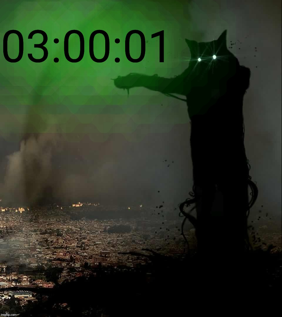 Godzilla Cat | 03:00:01 | image tagged in godzilla cat | made w/ Imgflip meme maker