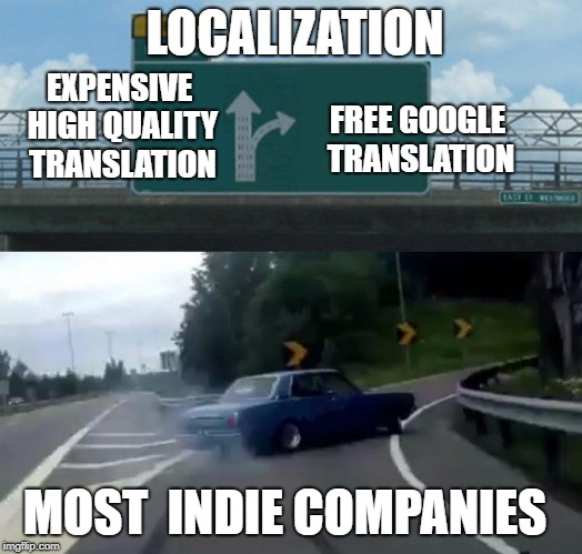 Left Exit 12 Off Ramp Meme | MOST  INDIE COMPANIES EXPENSIVE HIGH QUALITY TRANSLATION FREE GOOGLE TRANSLATION LOCALIZATION | image tagged in memes,left exit 12 off ramp | made w/ Imgflip meme maker