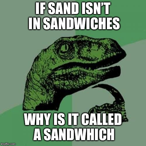 Philosoraptor Meme | IF SAND ISN'T IN SANDWICHES WHY IS IT CALLED A SANDWHICH | image tagged in memes,philosoraptor | made w/ Imgflip meme maker