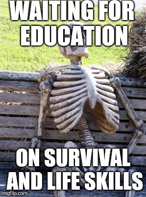Waiting Skeleton Meme | WAITING FOR EDUCATION ON SURVIVAL AND LIFE SKILLS | image tagged in memes,waiting skeleton | made w/ Imgflip meme maker