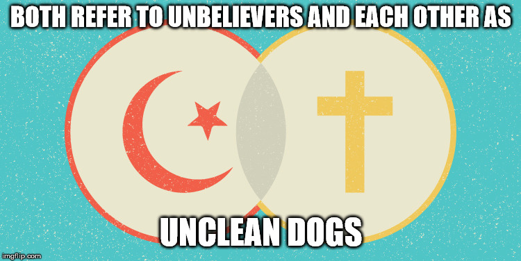 Christianity and Islams Lion complex. | BOTH REFER TO UNBELIEVERS AND EACH OTHER AS UNCLEAN DOGS | image tagged in christianity,islam,lion,dog,believer,unbeliever | made w/ Imgflip meme maker