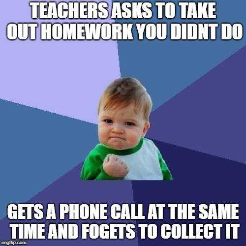 Success Kid Meme | TEACHERS ASKS TO TAKE OUT HOMEWORK YOU DIDNT DO GETS A PHONE CALL AT THE SAME TIME AND FOGETS TO COLLECT IT | image tagged in memes,success kid | made w/ Imgflip meme maker