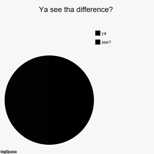 Ya see tha difference? | see?, ya | image tagged in funny,pie charts | made w/ Imgflip pie chart maker