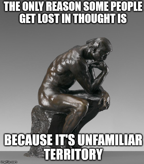 The lack of critical thinking nowadays is amazing | THE ONLY REASON SOME PEOPLE GET LOST IN THOUGHT IS BECAUSE IT'S UNFAMILIAR TERRITORY | image tagged in the thinker | made w/ Imgflip meme maker
