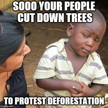 Third World Skeptical Kid Meme | SOOO YOUR PEOPLE CUT DOWN TREES TO PROTEST DEFORESTATION | image tagged in memes,third world skeptical kid | made w/ Imgflip meme maker