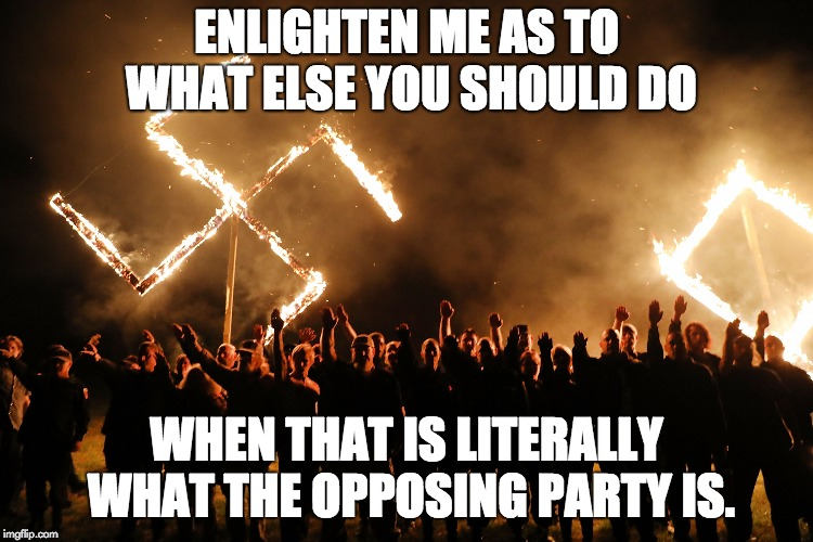ENLIGHTEN ME AS TO WHAT ELSE YOU SHOULD DO WHEN THAT IS LITERALLY WHAT THE OPPOSING PARTY IS. | made w/ Imgflip meme maker
