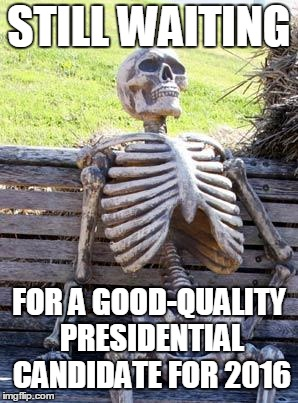 Waiting Skeleton Meme | STILL WAITING FOR A GOOD-QUALITY PRESIDENTIAL CANDIDATE FOR 2016 | image tagged in memes,waiting skeleton | made w/ Imgflip meme maker