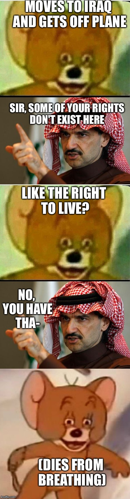 My dad kills sychotic mouse | MOVES TO IRAQ AND GETS OFF PLANE SIR, SOME OF YOUR RIGHTS DON'T EXIST HERE LIKE THE RIGHT TO LIVE? NO, YOU HAVE THA- (DIES FROM BREATHING) | image tagged in jerry,arab,suicide,shitty meme | made w/ Imgflip meme maker