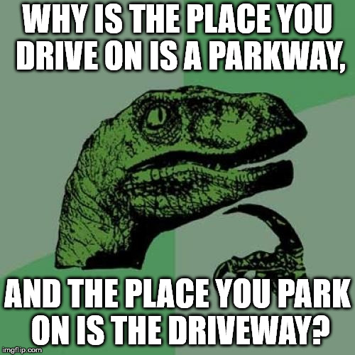 Philosoraptor Meme | WHY IS THE PLACE YOU DRIVE ON IS A PARKWAY, AND THE PLACE YOU PARK ON IS THE DRIVEWAY? | image tagged in memes,philosoraptor | made w/ Imgflip meme maker